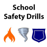 School Safety Drills - image of a flame, a tornado, and a police badge