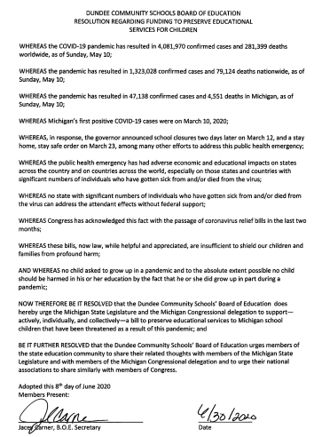 Document Showing Board of Education Budget Resolution
